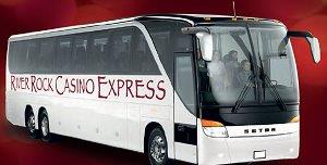 picture of a bus with the words River ROck Casino express